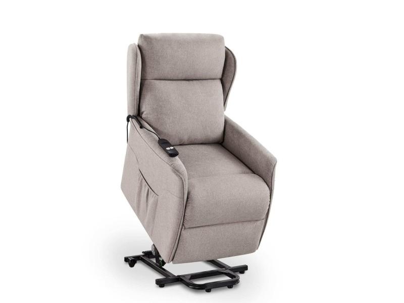 Louis - fauteuil releveur relax à commande électrique en tissu beige
