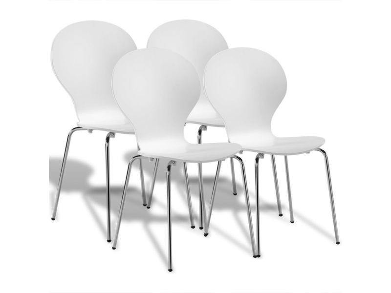 Vidaxl chaises papillon empilables à dîner 4 pcs blanc