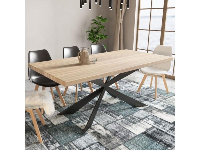Table à manger design en bois et métal 6 personnes lova ZL201702025-TAB