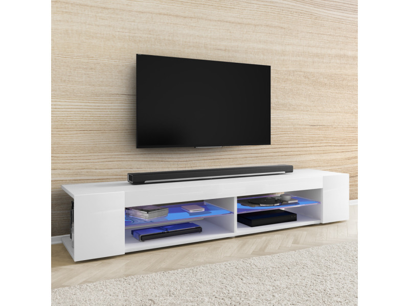 Meuble Tv Mitchell 180 Cm Blanc Mat Blanc Brillant Avec Led Vente De Meuble Tv Conforama