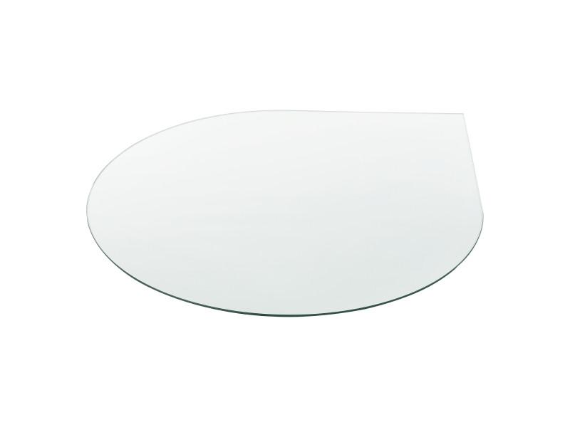 [neu.haus] tableau de table bureau chevet table de jardin en verre trempé esg transparent bords polis meuble diy épaisseur 6 mm diamètre ø 90 cm ovale