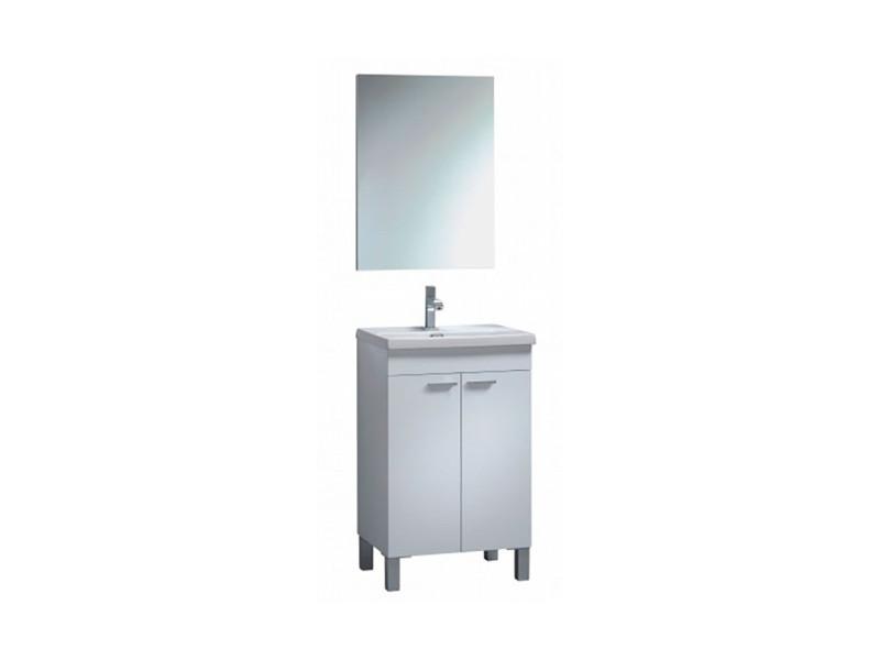 Meuble sous-vasque suspendue avec 2 portes + miroir coloris blanc laqué brillant - 64 x 80 x 45 cm -pegane- PEGANE