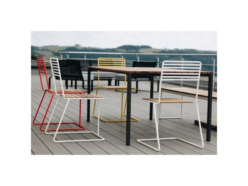 Salon de jardin table rectangulaire cora banc bistrot et 4 ...