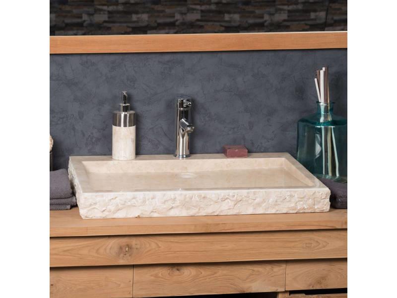 Grande vasque 70cm à poser rectangle en pierre marbre cosy crème 32036
