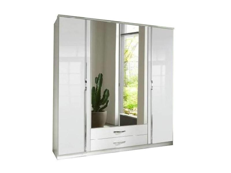 Armoire penderie kroos blanche et portes centrales miroirs 20100866056