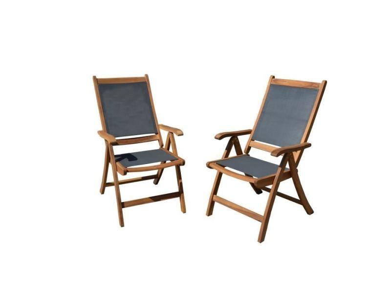 Chaise de jardin - fauteuil de jardin - tabouret de jardin lot de 2 fauteuils en bois d'acacia fsc et textilene - gris