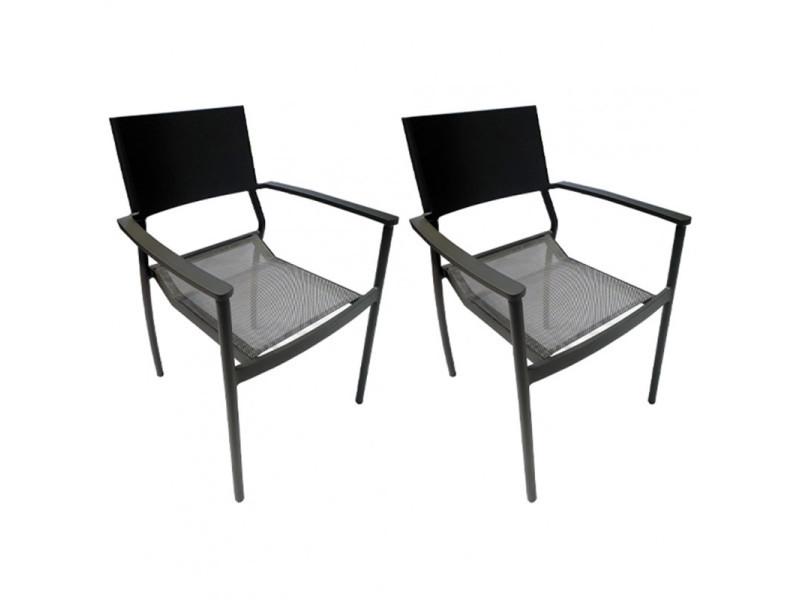 Lot de 2 chaises de jardin en aluminium et revêtement textilène - dola