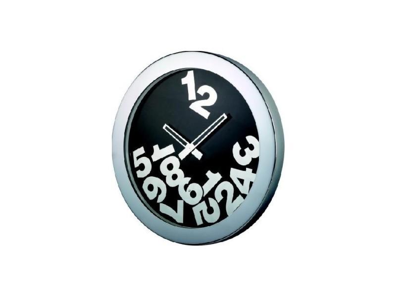 Horloge design noir et chrome six