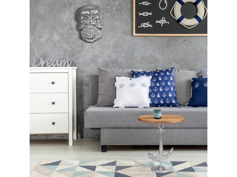 Table d'appoint décorative chypre avec ancre argentée ronde ø 50x54 cm design maritime en aluminium poli et bois de mangue 390003208
