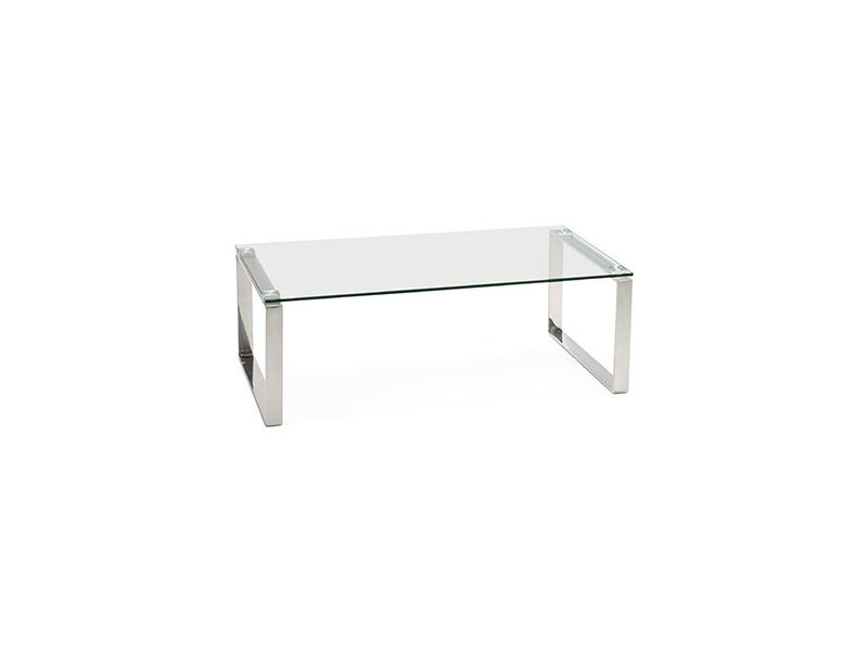 Table basse 110x60x38 cm en verre et acier