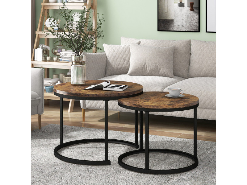 Lot de 2 tables basses gigognes design industriel brun