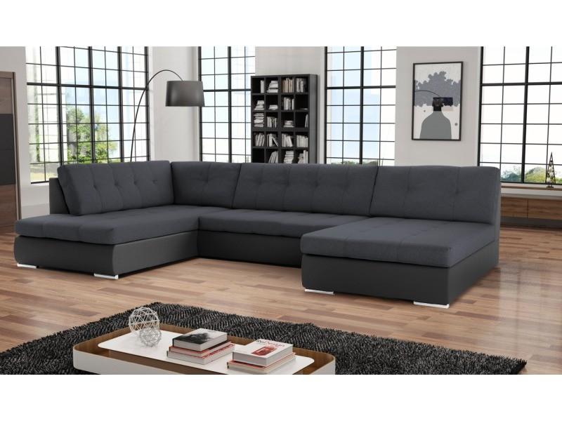 Canapé d'angle convertible panoramique paola. Tissu et simili cuir, noir