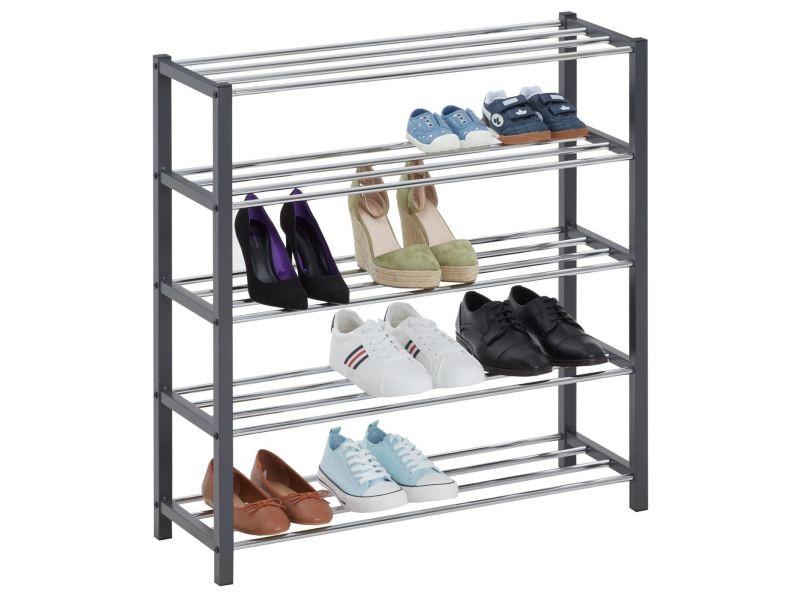 Etagère à chaussures dublin rangement porte-chaussures avec 5 niveaux pour 20 paires en métal chromé et laqué gris