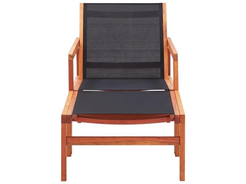 Vidaxl chaise de jardin et repose-pied eucalyptus solide et textilène 48702