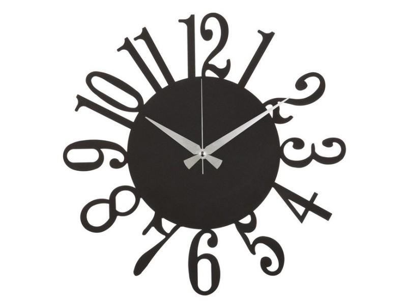 Homemania horloge murale - décorative - art mural - pour séjour, chambre - noir en acier, 50 x 0,2 x 50 cm