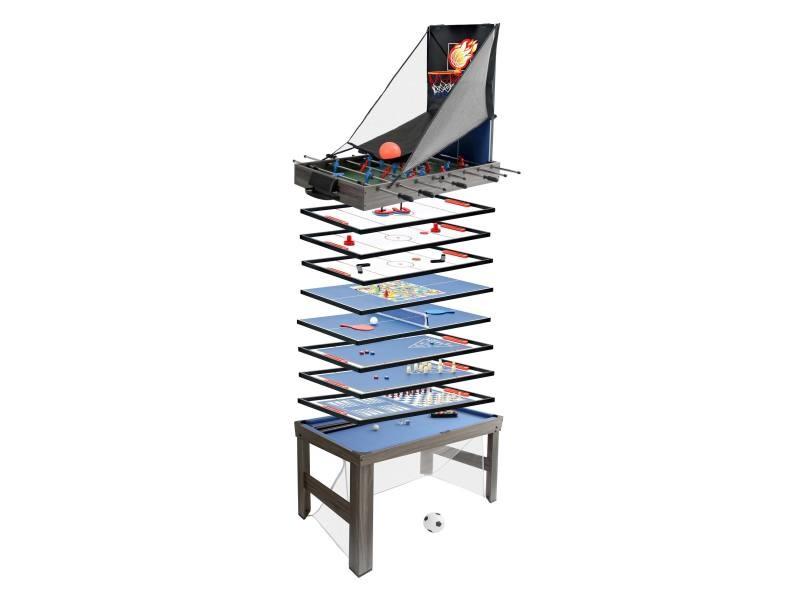 Table de baby-foot hwc-j16, 20 jeux en 1 table de jeu, multijoueur, mdf 174x107x60cm ~ gris anthracite