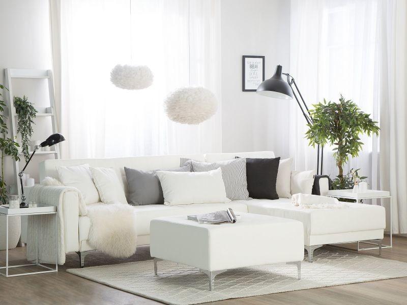 Canapé angle gauche convertible simili-cuir blanc avec pouf 4 places aberdeen 150482