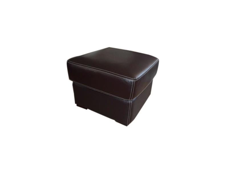Pouf - cuir marron chocolat - contemporain - l 60 x p 60 cm