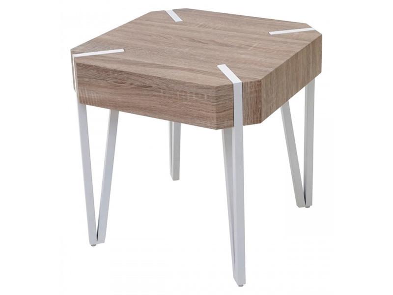 Table basse coloris chêne foncé avec pieds en métal noir - dim : h 52 x l 50 x p 50 cm -pegane-