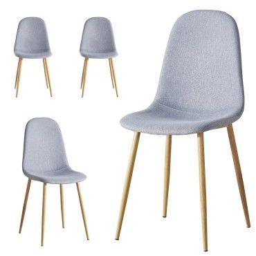 4 chaises design scandinave tissu gris clair ansen Vente