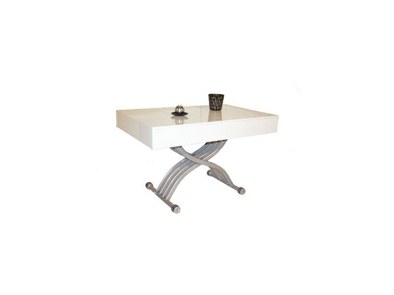 Table basse relevable kubic laque blanc