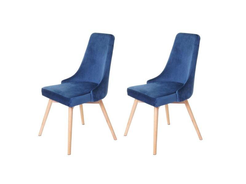 2x chaise de salle à manger hwc-b44, fauteuil, style rétro années 50, en velours ~ en bleu pétrole
