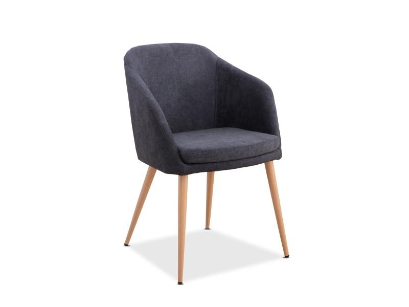 Mc haus - fauteuil lara nordic design salle manger 51,5x53,5x85cm gris anthracite