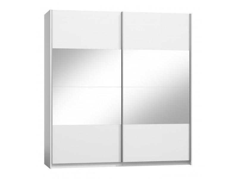 Ensemble verona blanc brillant lit design en simili cuir blanc 180 x 200 cm avec option coffre , 2 chevets et 1 armoire.