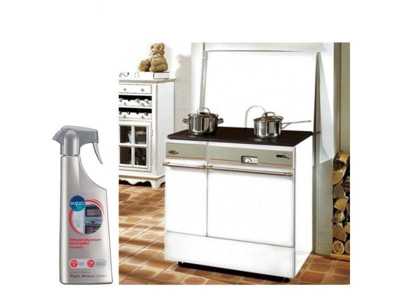 Cuisinière à bois arpège largeur 75cm habillage acier blanc dessus fonte emaillée