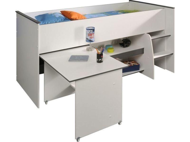 lit combin 90x200 pour gar on coloris blanc et gris p 6286 co moba vente de comforium conforama. Black Bedroom Furniture Sets. Home Design Ideas