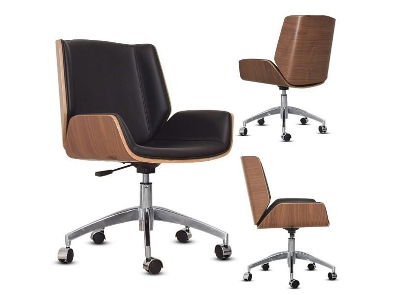 Chaise de bureau bois avec roulettes bali noir vente de fauteuil