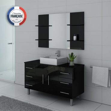 Meuble de salle de bain simple vasque sur pieds turin noir - Meuble vasque salle de bain conforama ...