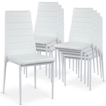 Lot de 8 chaises strip empilables blanc Vente de Chaise