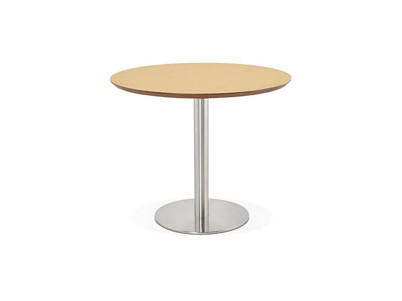 Table à manger ronde 90 cm plateau naturel et pied en acier - bahia