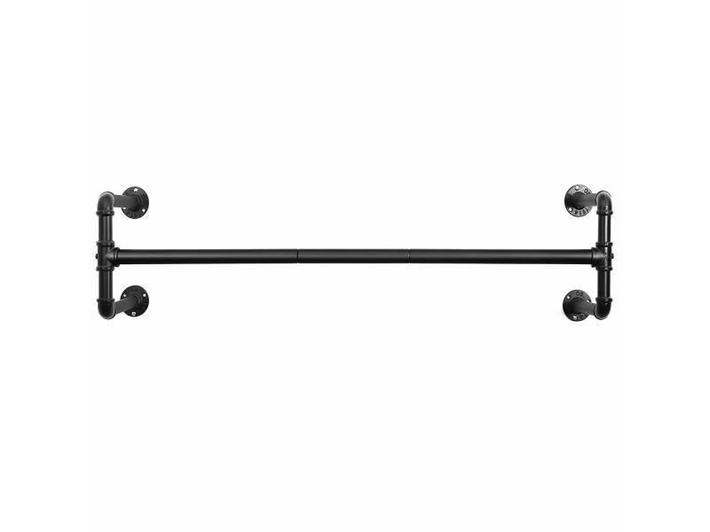 Portemanteaux muraux, barres de suspension pour vêtements en tuyaux industriels, gain de place, 110 x 30 x 29,3 cm noir hsr64bk de songmics Capacité de 60 kg