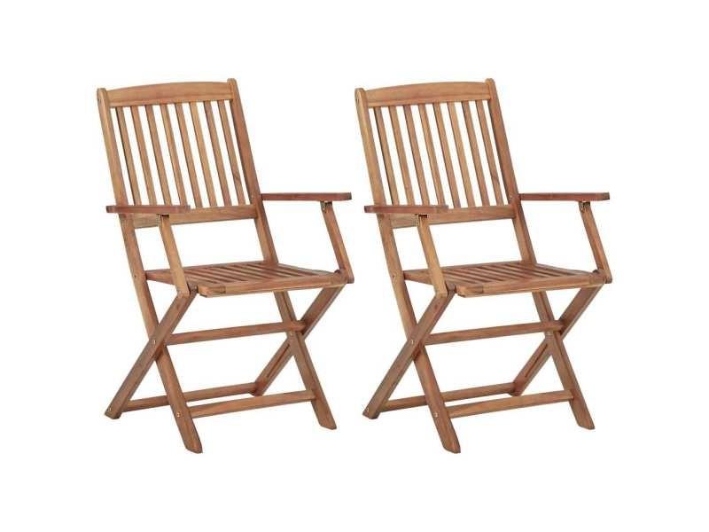 Chic sièges de jardin collection port moresby chaises pliables d'extérieur 2 pcs bois d'acacia solide
