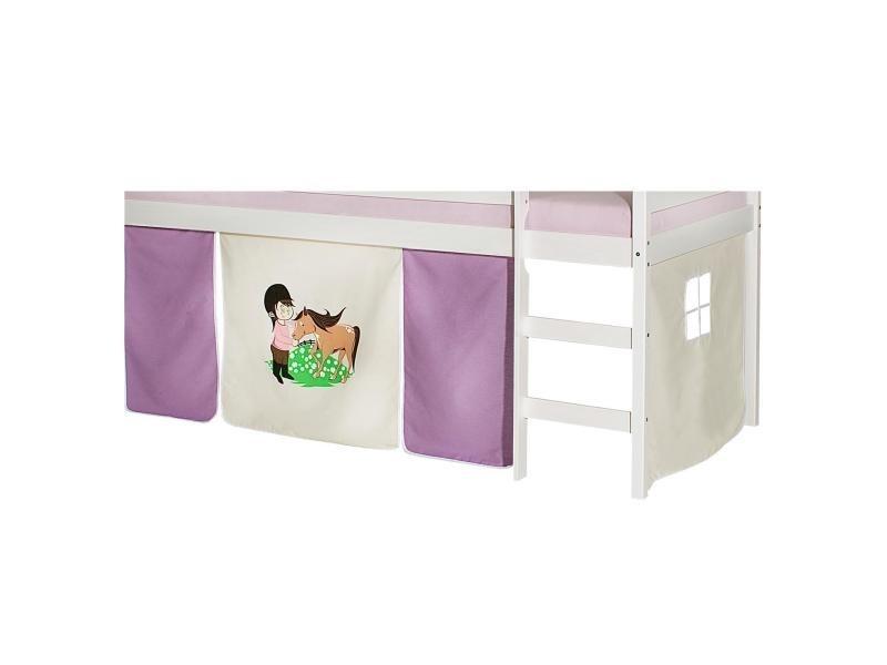 Lot de rideaux cabane pour lit sur lev superpos mi hauteur mezzanine tissu coton motif poney - Rideaux pour lit sureleve ...