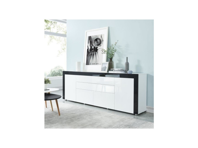 Vox buffet contemporain laqué blanc et noir brillant - l 200 cm VOXBLNO