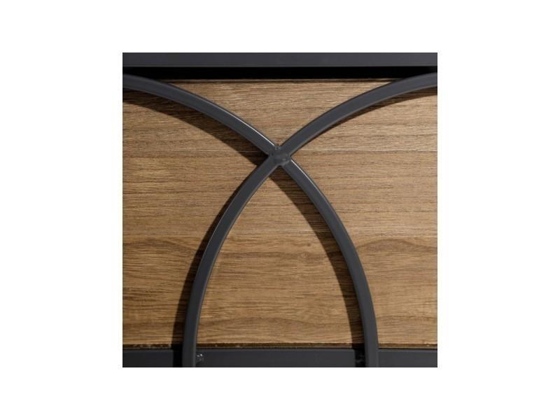 Table de chevet fer forg et 2 tiroirs motif imprim - Table de chevet fer forge ...