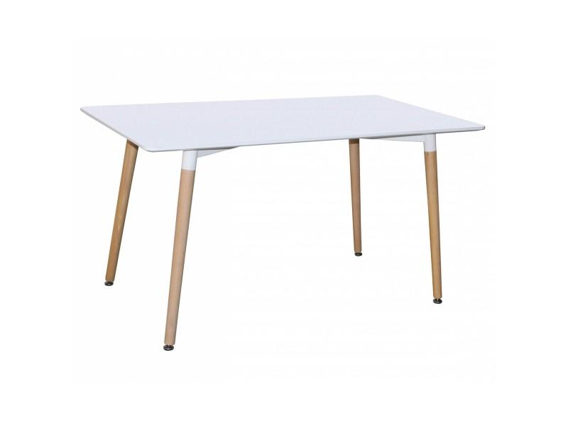 Table à manger en bois laquée blanc camilia