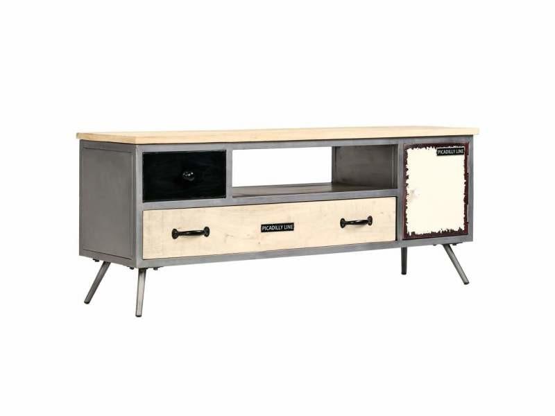 Meuble télé buffet tv télévision design pratique bois de manguier massif et acier 120 cm helloshop26 2502149