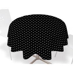 Nappe toile ciree ronde  d 160cm - pois noir