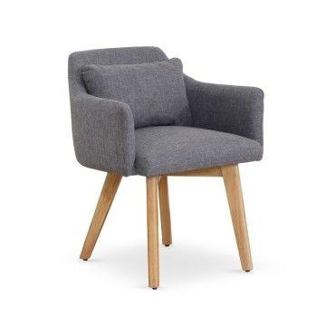 chaise fauteuil scandinave gybson tissu gris clair vente de menzzo conforama. Black Bedroom Furniture Sets. Home Design Ideas