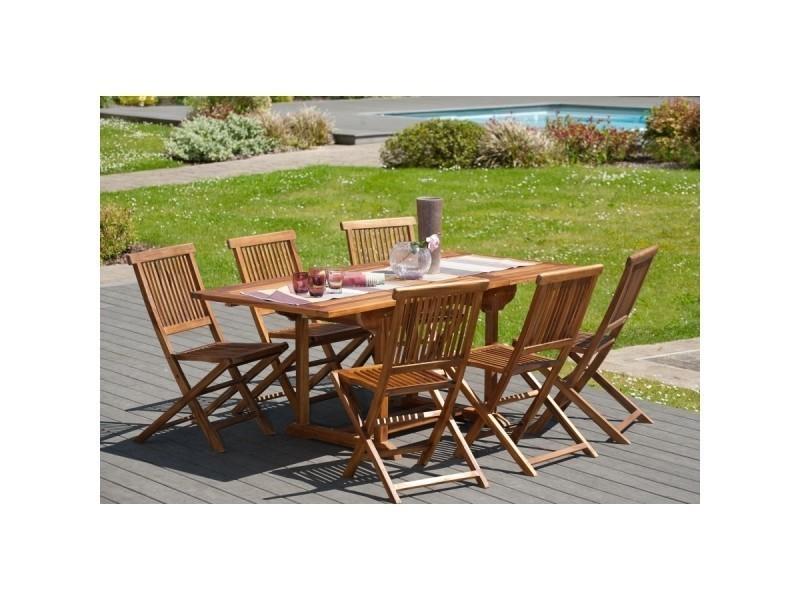 Ensemble de jardin en teck avec 1 table rectangulaire extensible et ...