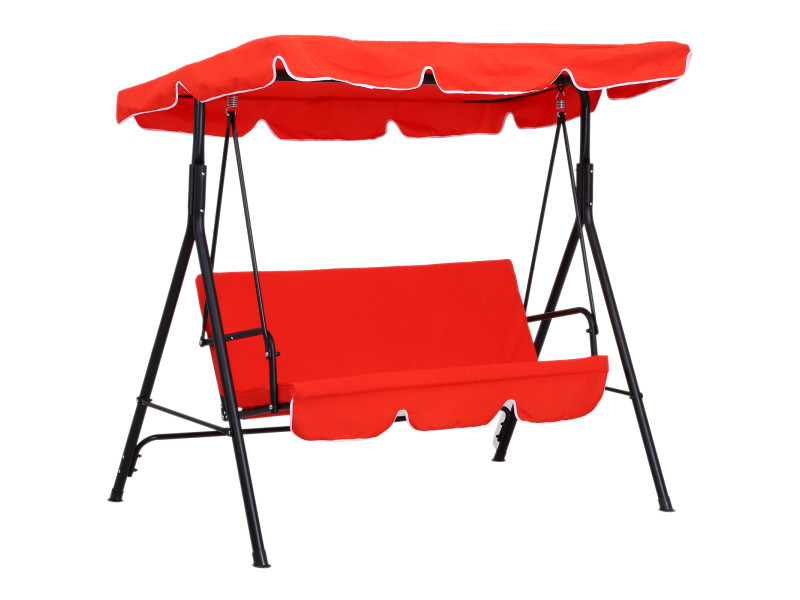Balancelle de jardin 3 places toit inclinaison réglable coussins assise et dossier 1,72l x 1,1l x 1,52h m acier noir polyester rouge