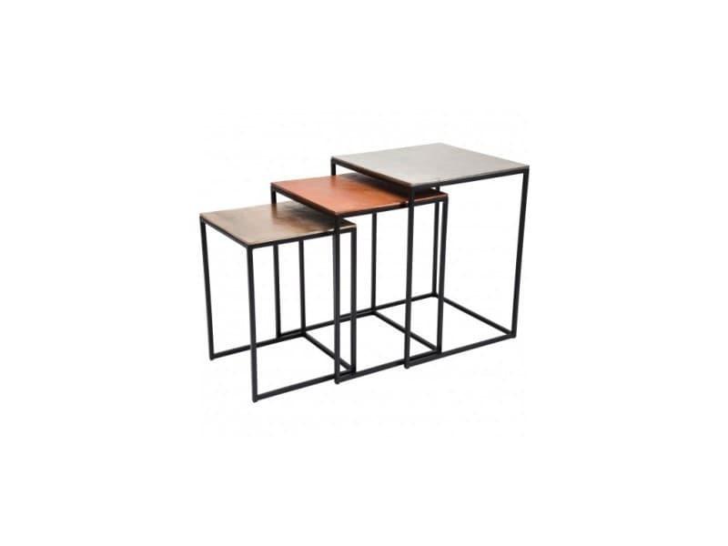 Set de 3 tables d'appoints argentées, cuivrées, dorées square vintage