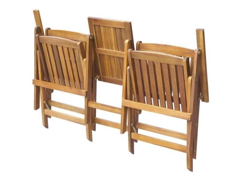 Vidaxl banc de jardin pliant et table à thé 140cm bois d\'acacia ...