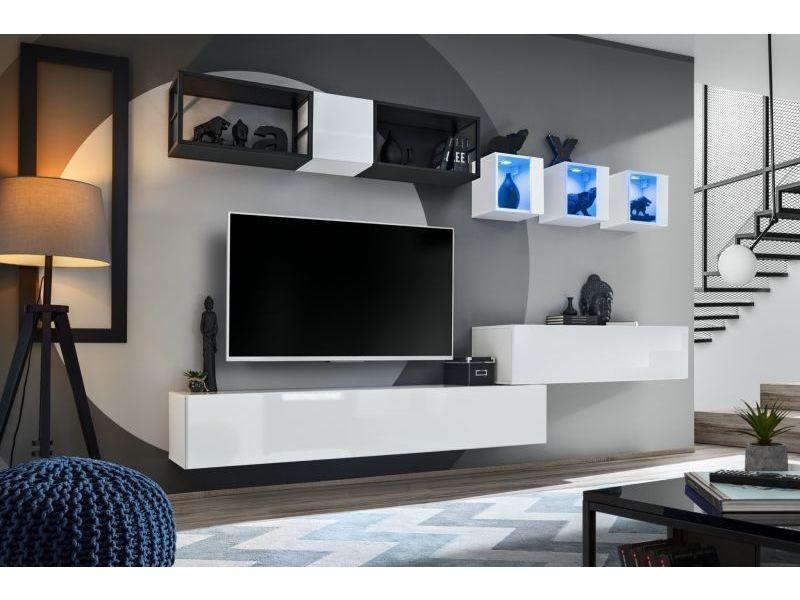 Ensemble meuble tv mural switch met iii - l 280 x p 40 x h 170 cm - blanc