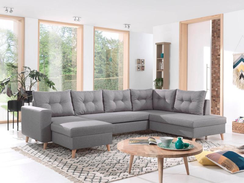 Nordic - canapé scandinave d'angle droite panoramique convertible en tissu - 299x86x188cm couleur - gris clair