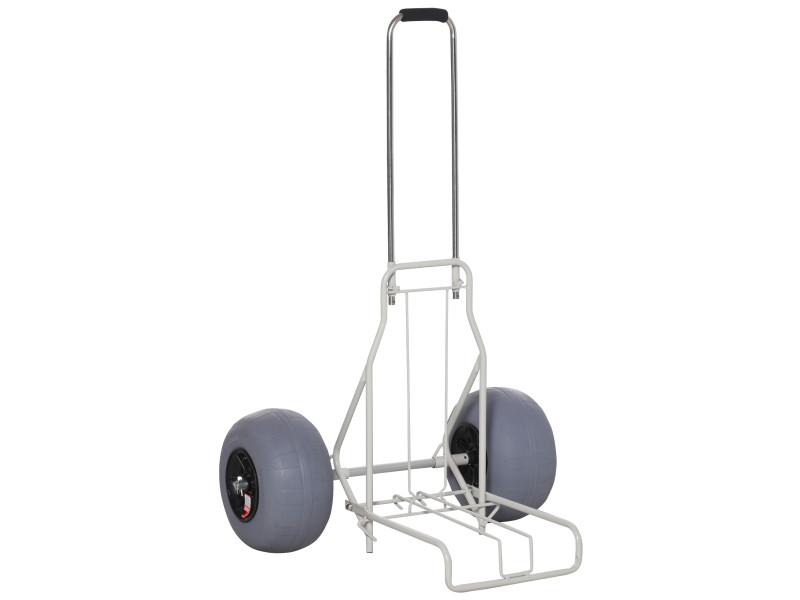 Chariot de plage pliable - chariot de transport pliable tout-terrain - manche télescopique - grandes roues basse pression